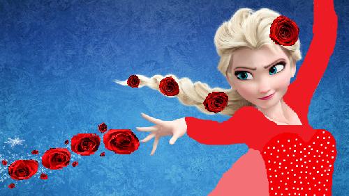 Elsa s mocí růže (moje tvorba)